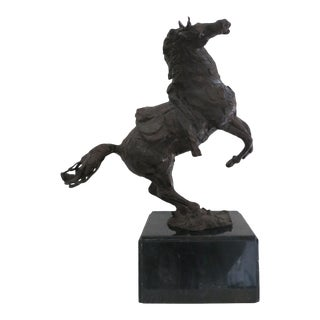 Bronze Rearing Horse Sculpture by Heriberto Juarez For Sale
