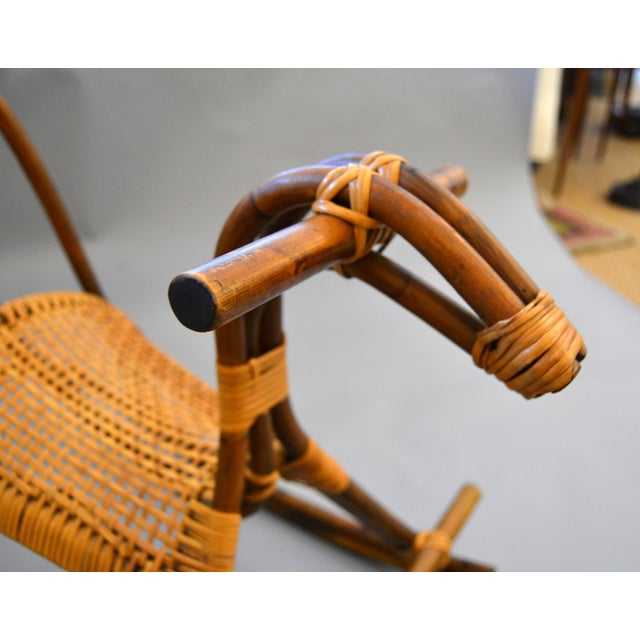 Bamboo 1960s Rattan and Bamboo Rocking Horse Sculpture Inspired by Franco Albini For Sale - Image 7 of 13