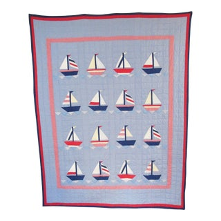 Hand-Stitched Sailboat Quilt For Sale
