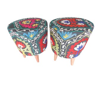 Pair Modern Handwoven Uzbek Suzani Ottoman Footstool For Sale