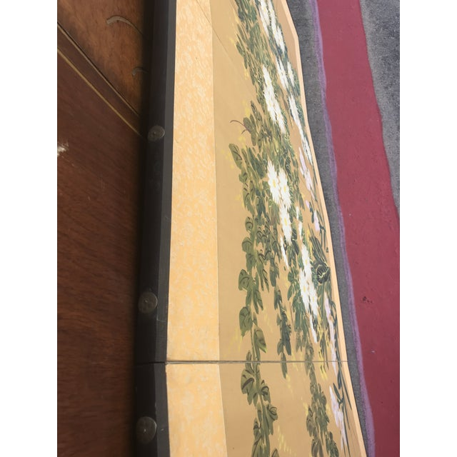 Chinese Hand Painted Floral Screen or Mural For Sale In Dallas - Image 6 of 12