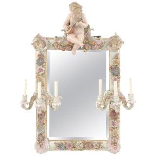 German Polychromed Porcelain Girandole Mirror, Circa 1900 For Sale