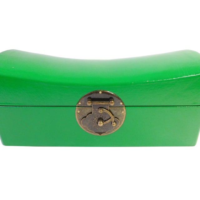 Chinese Green Pillow Shaped Box For Sale - Image 5 of 5