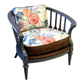 Vintage Shabby Chic Barrel Chair For Sale