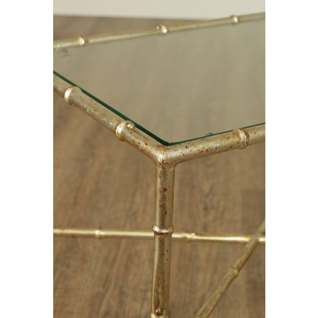Hollywood Regency 1960's Silver Gilt Metal Faux Bamboo Glass Top Side Table For Sale - Image 9 of 11