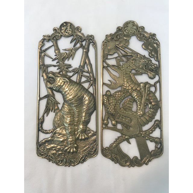 Asian Vintage Cast Metal Tiger & Dragon Chinoiserie Wall Plaques - a Pair For Sale - Image 3 of 3