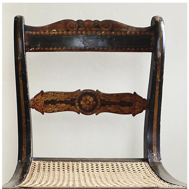 Antique Hand Painted Caned Chair - Image 2 of 5