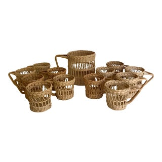 Vintage Wicker Rattan Glass Cozies - Set of 13 For Sale