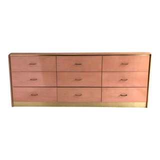 1980's Postmodern Pink Dresser With Brass For Sale