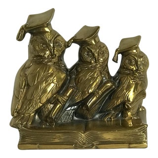 "Vintage MCM Jenning Brothers Brass ""Wise Scholar Owls"" Bookend"