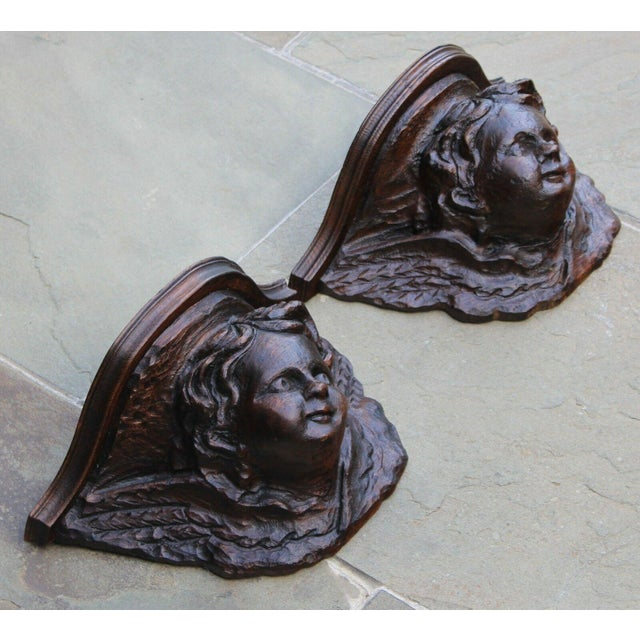 Late 19th Century Pair Antique French Oak Wall Shelves Corbels Angels Cherubs Gothic Victorian For Sale - Image 5 of 13