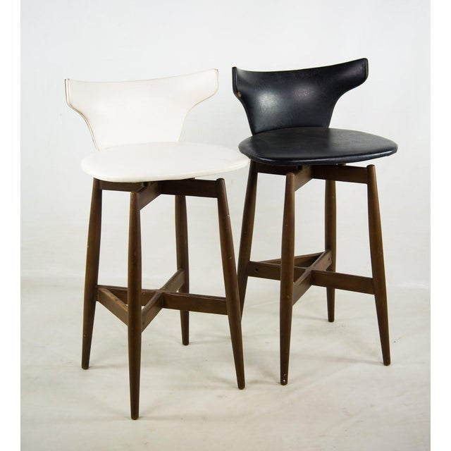 Seymour James Wiener for Kodawood Mid-Century Vinyl Swivel Barstools - A Pair For Sale - Image 13 of 13