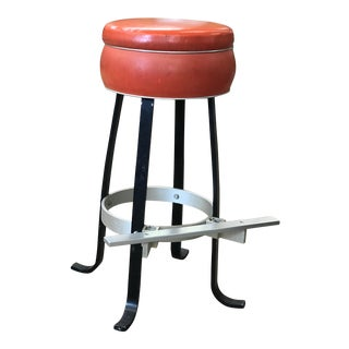 Industrial Upholstered Metal Stool For Sale