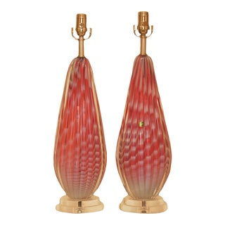 Vintage Murano Pink Opaline Glass Lamps For Sale