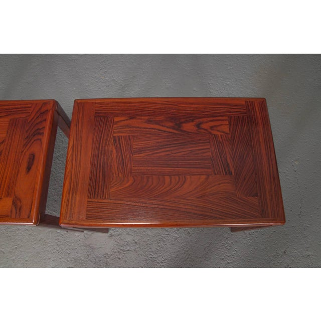 1950s Pair of Danish Modern Rosewood Side Tables For Sale - Image 5 of 10