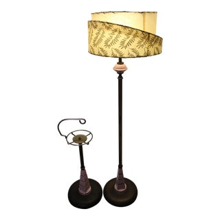Mid-Century Metal & Ceramic Lamp With Ashtray Stand - A Pair