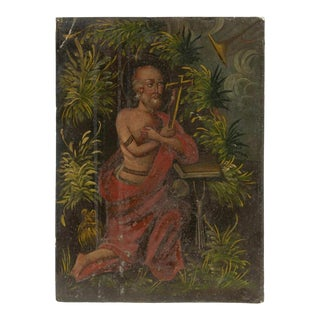18th/19th Century Spanish Colonial Retablo Oil Painting on Metal For Sale