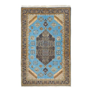 Vintage Persian Tabriz Rug With Sky Blue Field For Sale