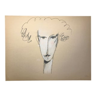 """1983 Signed Bay Area Artist Jack Hooper Drawing """"Curly Hair"""" For Sale"""