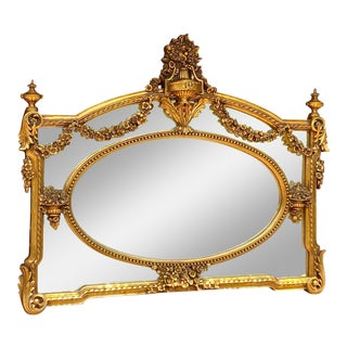French Louis XVI Style Decorated Wall Mirror For Sale