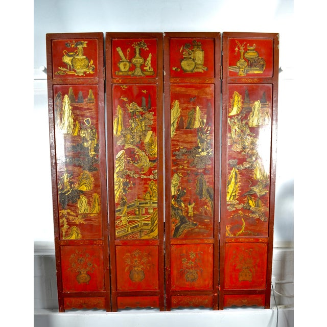 Lacquer 19th Century Chinoiserie Screen For Sale - Image 7 of 9