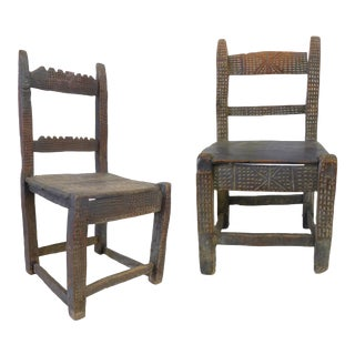 Pair of Carved Wood 18th Century Spanish Colonial Chairs For Sale