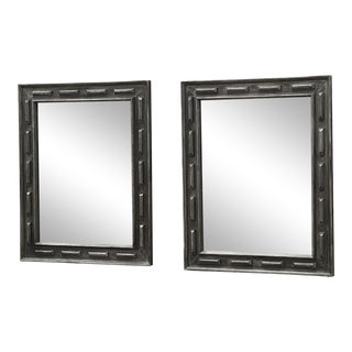 1920's Pewter Finish Wooden Mirrors - a Pair