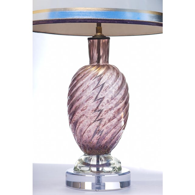 Pair of Mid-Century1950's Purple Murano lamps on lucite bases. The shades are included and are handcrafted in parchment...
