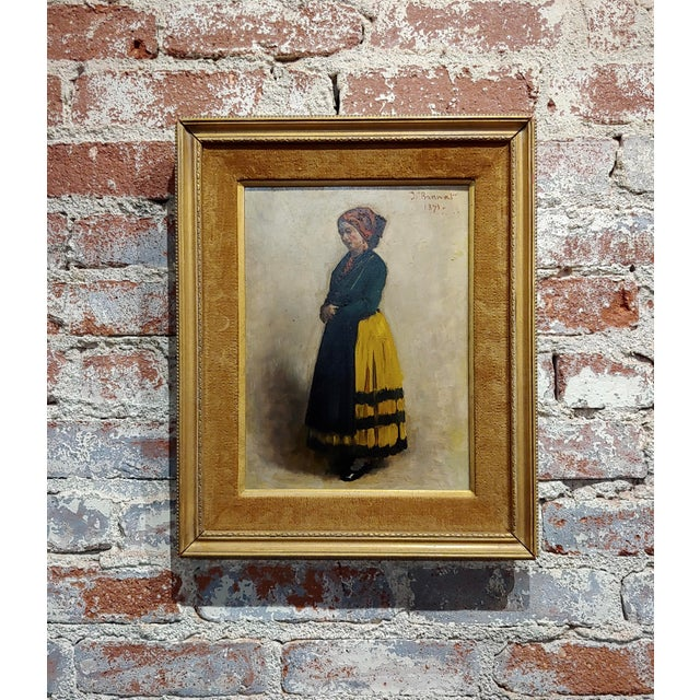 Leon Bonnet -19th Century Portrait of an Italian Woman-Oil Painting 1871 For Sale - Image 10 of 10