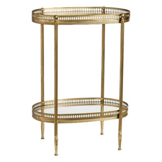 French Brass Two Tiers Petite Gallery Table After Maison Jansen C.1970 For Sale