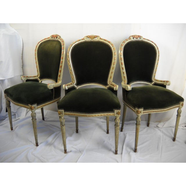 French Painted Gilt Dining Chairs - Set of 6 For Sale - Image 4 of 11