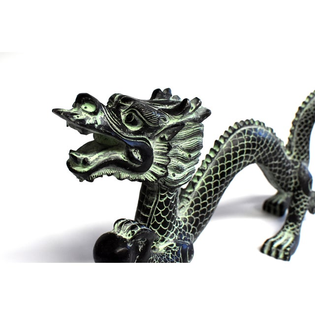 """Asian Bronze Dragon With Fire Ball 11.5"""" Wide For Sale - Image 3 of 13"""