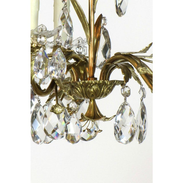 Swedish Brass and Crystal Chandelier - Image 4 of 4