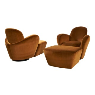 Uncommon Vladimir Kagan Swivel Chairs With Matching Ottomans For Sale