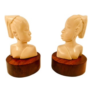 Vintage Carved Bone Female Bust Figures on Circular Wood Bases- a Pair For Sale