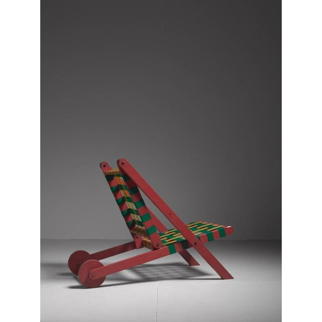 Folding Red Wood Indoor Outdoor Lounge Chair with Webbing, USA, 1950s For Sale - Image 4 of 6