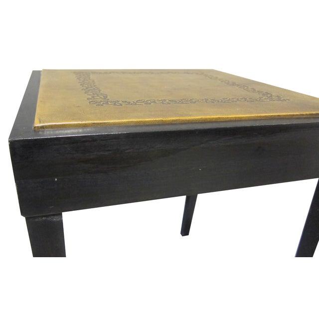Vintage Sarreid LTD Square Leather Top Side Table - Image 4 of 5