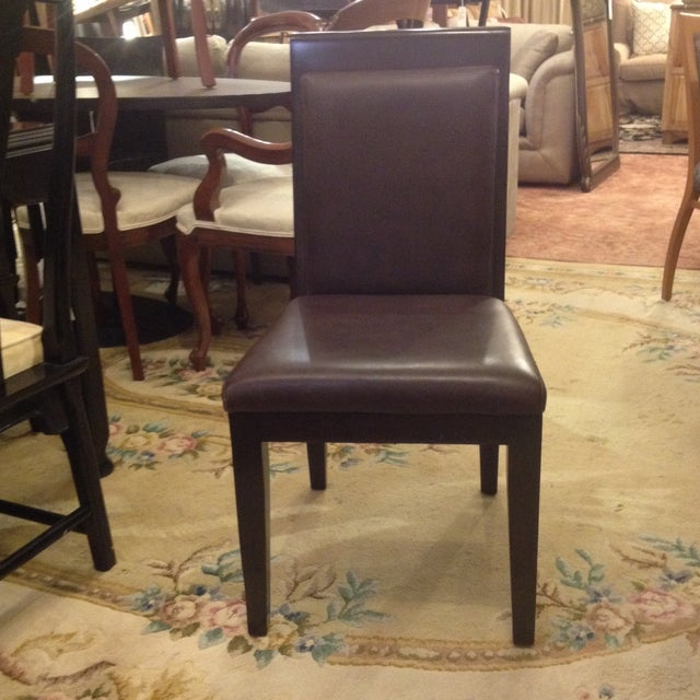 Doug Levin Brown Wood & Leather Side Chair - Image 3 of 7