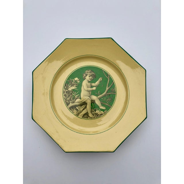 French Sarreguemines Majolica Cupid Plates - Set of 8 For Sale - Image 9 of 13
