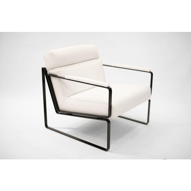 Modern Jessse White Leather Club Chair For Sale - Image 3 of 3