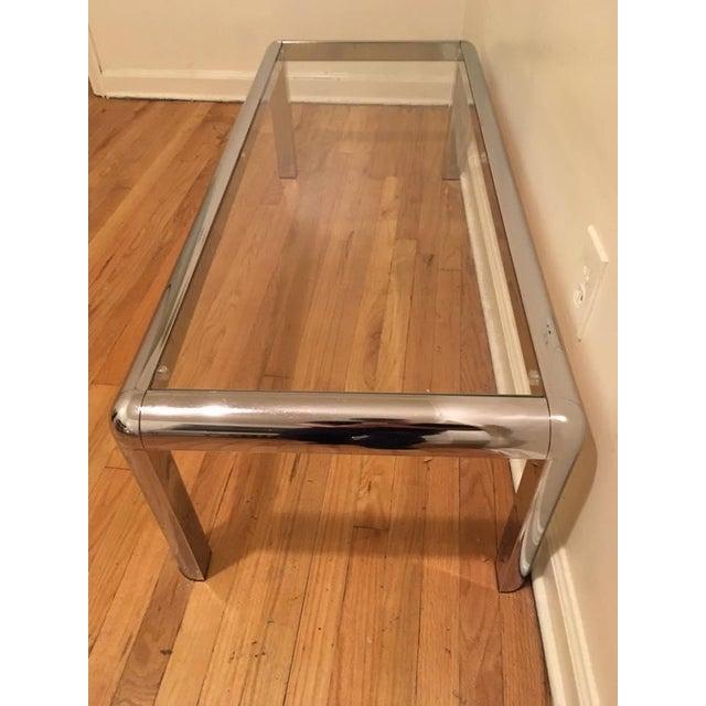 Italian Mod Chrome & Glass Coffee Table - Image 6 of 8