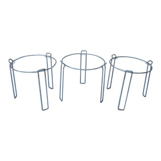 Saporiti - 3 Piece 1960s Three Glass and Chromed Steel Nesting / Stacking Tables Uncommon For Sale