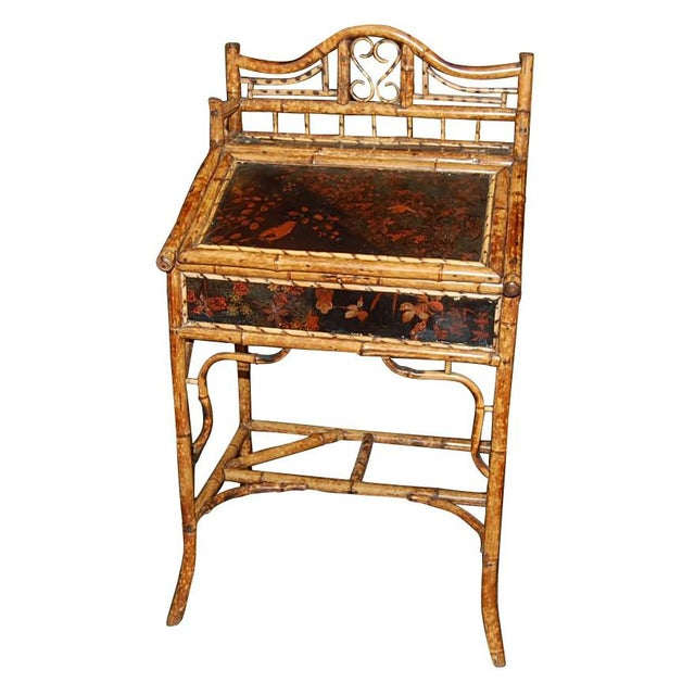 Bamboo Antique English Oriental Motif Bamboo Slope Front Desk For Sale - Image 7 of 7