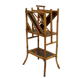 19th. Century English Bamboo Magazine Stand Rack For Sale