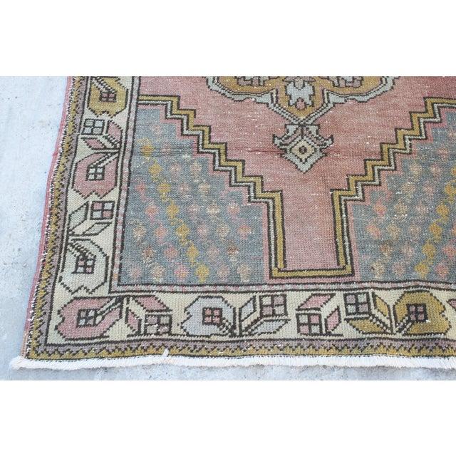 Vintage Bohemian Oushak Rug - 3′7″ × 5′7″ For Sale - Image 5 of 6