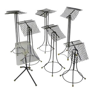 1940s Vintage Space Age Modern Sculptural Black Wire Store Display Stands - Set of 7 For Sale