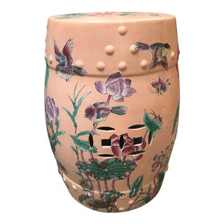 1970s Chinoiserie Salmon and Jade Porcelain Garden Stool For Sale