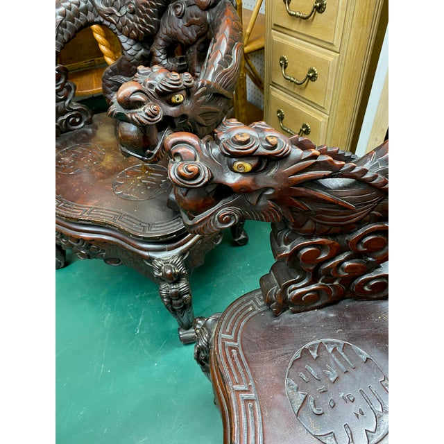 Vintage Carved Rosewood Oriental Dragon Chairs - a Pair For Sale - Image 9 of 12