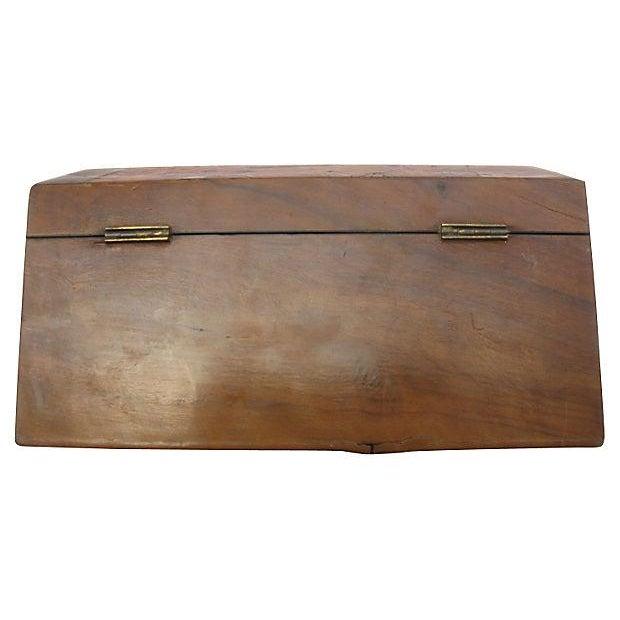 Antique English Wood & Brass Jewelry Box & Key - Image 5 of 5