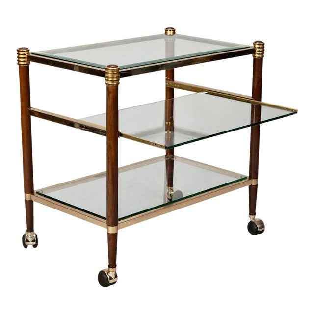 Mid-Century Italian Brass Glass and Polished Wood Trolley Table or Bar Cart For Sale